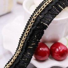 Flecos de poliéster de 0,9 m(1 yarda), adorno de borlas con cadena de Metal, cinta decorativa, para mujer, bolso, sombrero, ropa, costura, 22mm