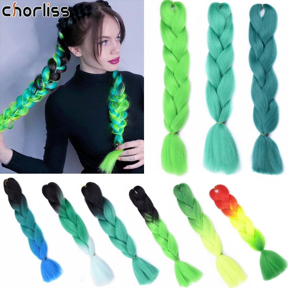 Trenzas de pelo sintético largo Kanekalon Ombre negro Rosa Crochet trenza caja 24 pulgadas trenza extensión de pelo para mujer