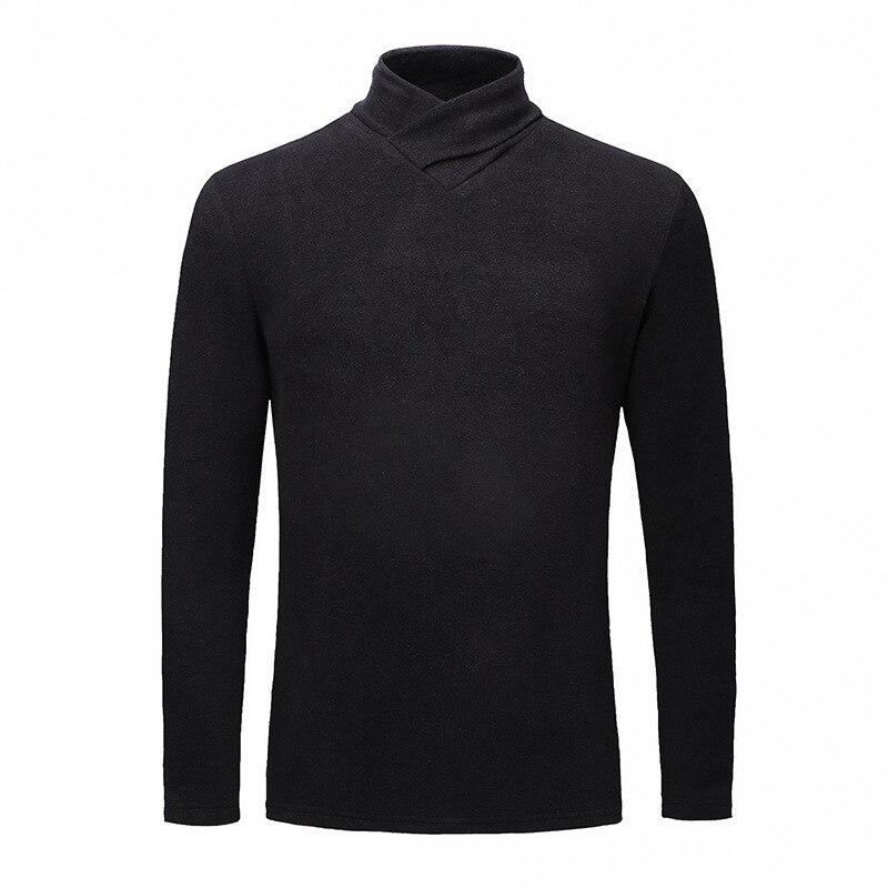 T-shirt à manches longues homme Double face en peluche Base chemise automne et hiver col en v sur les vêtements hommes jeunes et d'âge moyen thermique C