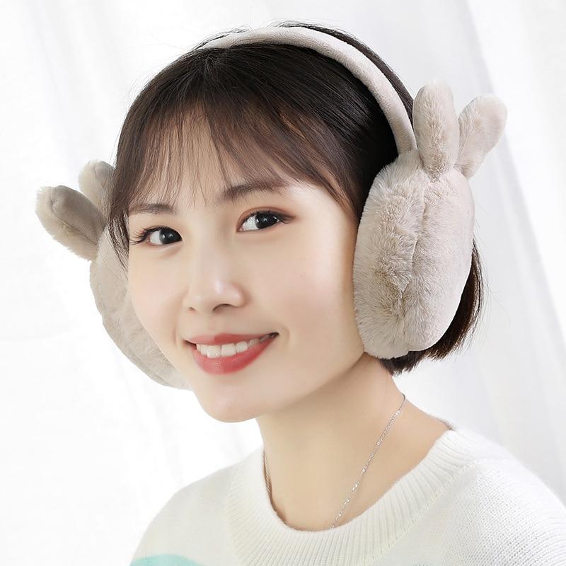 Newly Winter Plush Ear Muffs Foldable Cartoon Women Warm Earmuffs Ear Warmer M99