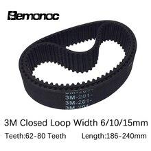 HTD 3M Timing Belt Pitch Length 186/189/195/198/201/207/213/216/225/228/240mm Width 6/10/15mm Rubber HTD3M Synchronous Belt velante 186 207 09