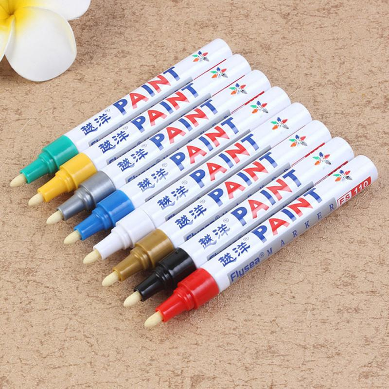 New 12 Colors White Waterproof Rubber Permanent Paint Marker Pen Car Tyre Tread Environmental Tire Painting Dropshipping