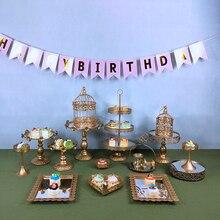 MQMY  Mirror Gold Crystal cake stand set metal fondant cupcake sweet table candy bar decorating