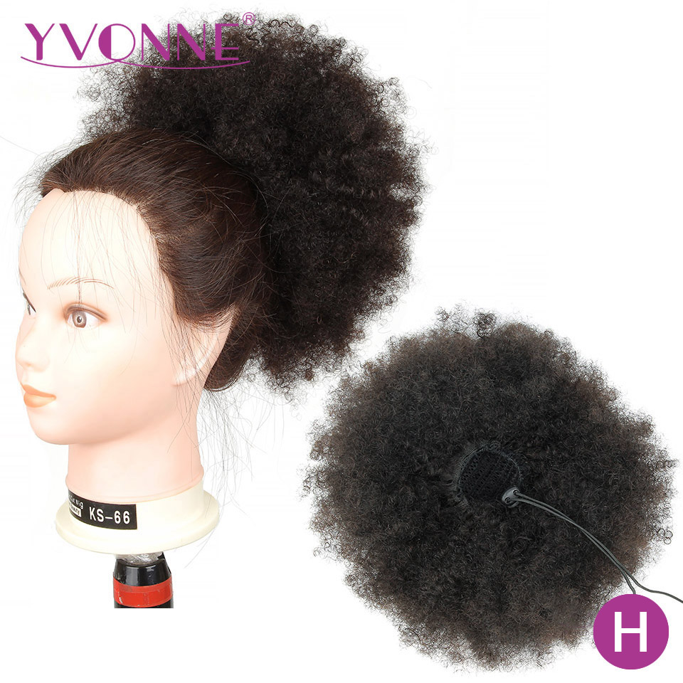 [Yvonne] Afro Kinky Curly Drawstring Ponytail Human Hair Clip In Extensions High Ratio Brazilian Virgin Hair Natural Color