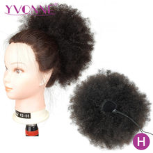 [Yvonne] Afro Kinky Curly Drawstring Ponytail Human Hair Clip In Extensions High Ratio Brazilian Virgin Hair Natural Color(China)