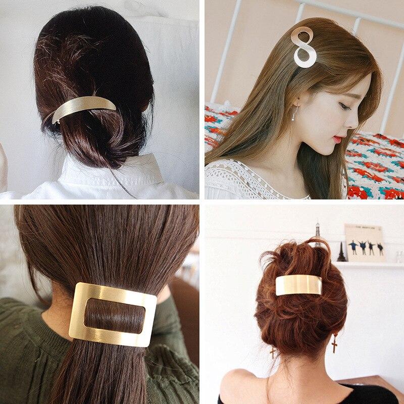 Fashion Geometric Women Hair Clip Metal Hairclip Elegant Barrette French Clip Wedding Hair Styling Accessories For Girls Lady