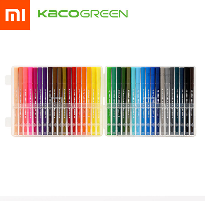 Fast Shipping  KACO Double Head Watercolor Pen Set For Drawing Writing Xiaomi Colorful Pen 36 Colors