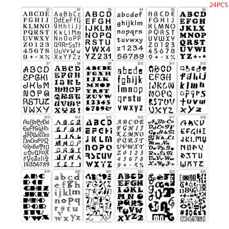 24pcs/set Alphabet Letters Drawing Template Stencil Painting Embossing Scrapbook