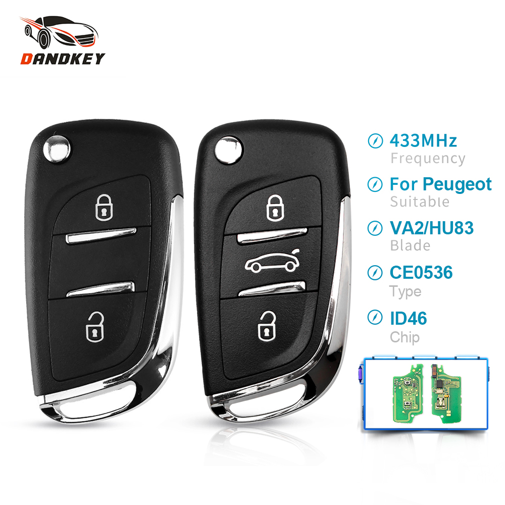 Dandkey ASK 2/3 Buttons 433MHZ Modified Filp Car Remote <font><b>Key</b></font> For For <font><b>Peugeot</b></font> 207 <font><b>208</b></font> 307 <font><b>Key</b></font> HU83/VA2 Blade CE0536 With ID46 Chip image