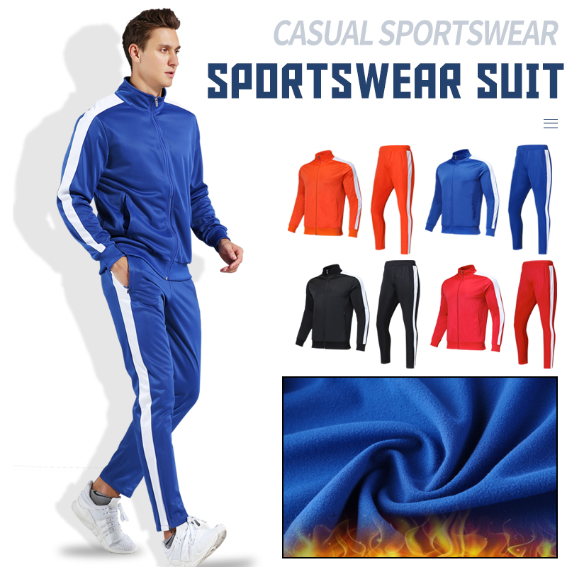 Men's Sportswear Soccer Jacket Tracksuit Football Training  Set Autumn Winter Spring Long Sleeve Stand Full Zipper Top And Pants