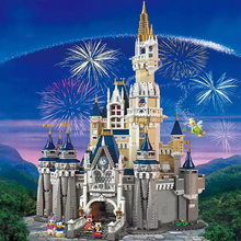 Cinderella Princess ชุดปราสาท Mickey Minnie บล็อกอาคารสถาปัตยกรรมอิฐเข้ากันได้ lepinglys 71040 สาววันเกิดของขวัญ