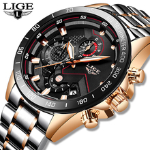 LIGE Date Business Men Watch Luxury Brand Stainless Steel Wrist Watch Chronograph Army Military Quartz Watches Relogio Masculino sinobi full stainless steel business men watches chronograph quartz watch color rotatable bezel white number relogio masculino