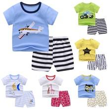 Zestawy ubrań dla niemowląt lato dla niemowląt chłopcy dziewczęta ubrania dla niemowląt bawełniane dla chłopców topy T-shirt + spodnie stroje dla dzieci zestaw ubrań dla dzieci dres tanie tanio Unisex CN (pochodzenie) Na co dzień COTTON Poliester W wieku 0-6m 7-12m 13-24m 25-36m 3-6y 7-12y 12 + y Suknem REGULAR