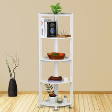 5 Tier Corner Bookcase Bookshelf CD Storage Wall Rack Display Shelves Organizer