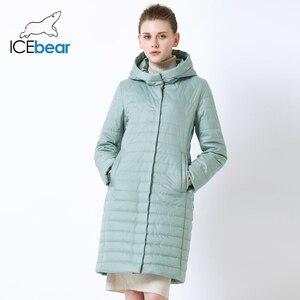 Image 1 - ICEbear 2019 nowa damska kurtka wysokiej jakości z kapturem na jesień płaszcz damski odzież bawełniana jednorzędowy średniej długości GWC19067I