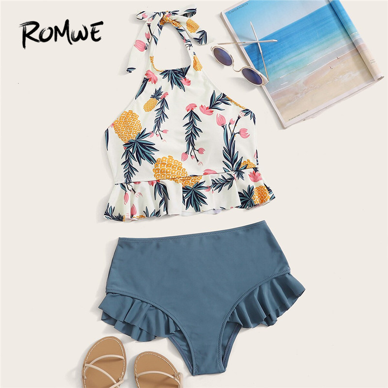 Romwe Sport Pineapple Print Ruffle Hem Halter Bikini Set Summer Cute Backless Swimming Suit For Women High Waist Swimsuit