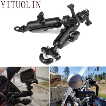For HONDA SILVER WING VFR 1200 CBR1000RR SHADOW 1100 VTX 1300 Motorcycle Bike Camera Holder Handlebar Mirror Mount Bracket image