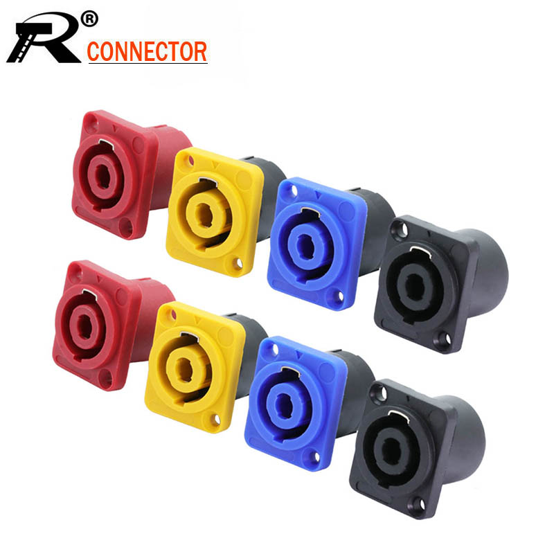 10pcs/lot 4 Pin Speakon Panel Mount 4 Poles Powercon Female Jack Socket Connector Amplifier Speaker Connector Chassis