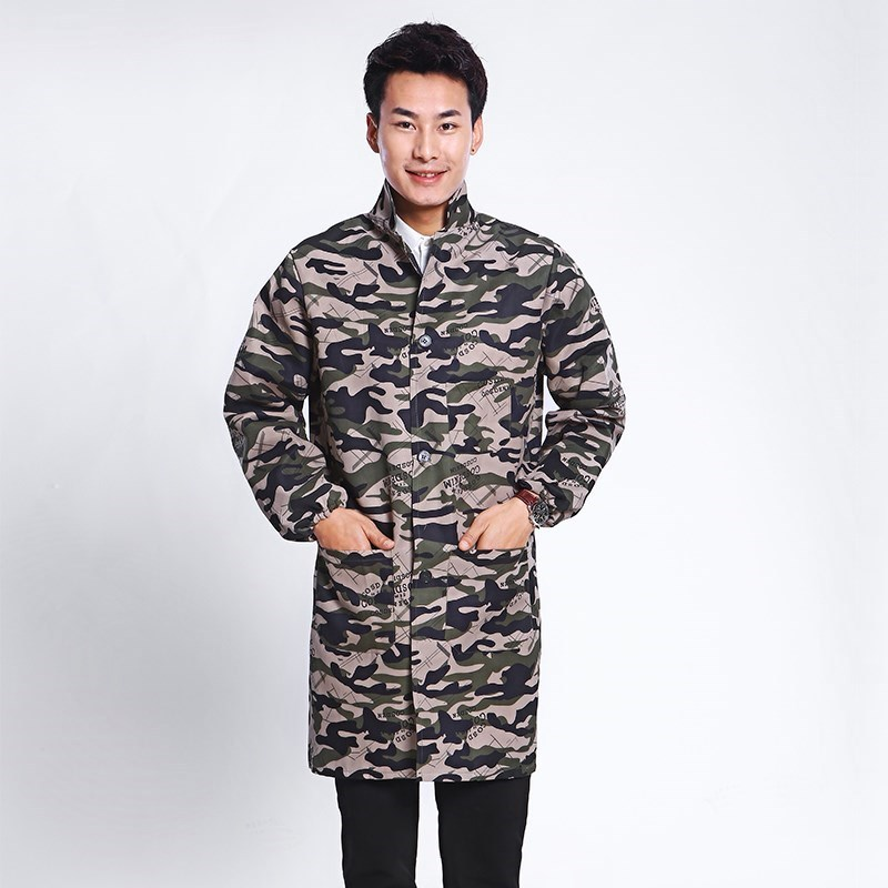 Long Sleeve Long Men Camouflage Work Clothes Apron Oil Resistant Simple Blue One Size Protective Clothing Korean-style Fashion A