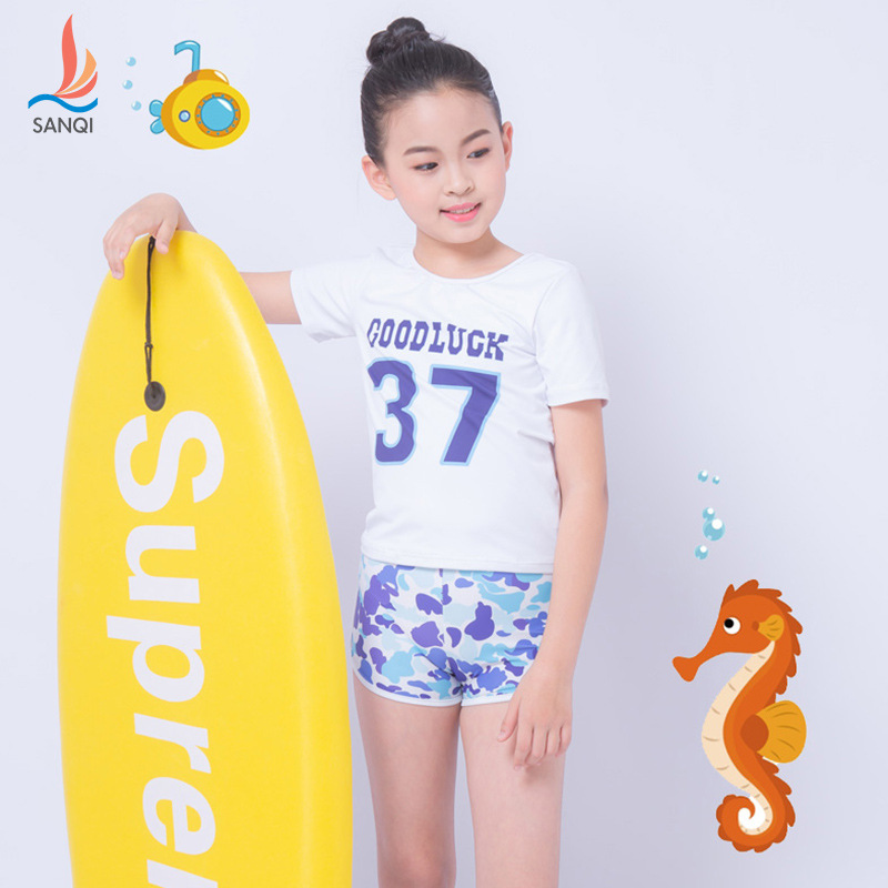 Manufacturers Direct Selling Sanqi New KID'S Swimwear Girls Big Boy GIRL'S Split Type AussieBum Set New Style Swimwear