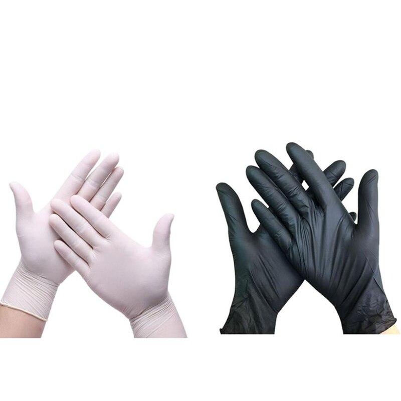 HOT-200Pcs Black, 100Pcs White Nitrile Thin Disposable Nitrile Gloves Waterproof Anti-Static Gloves