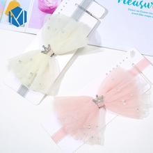 High Elasticity Baby Sweet Hairbands Mesh Bow-knot Headband Girls Lovely Princess Crown Hair Accessories Cute Elastic Head Wrap high elasticity baby sweet hairbands mesh bow knot headband girls lovely princess crown hair accessories cute elastic head wrap