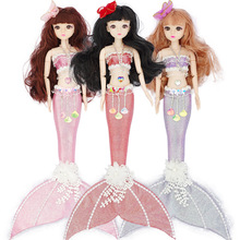 BJD Mermaid Jointed Baby Dolls Romantic Fish Tail Princess Doll Movable Jointed Doll Bearty Flower Skirt Dress Dolls Girls Toys