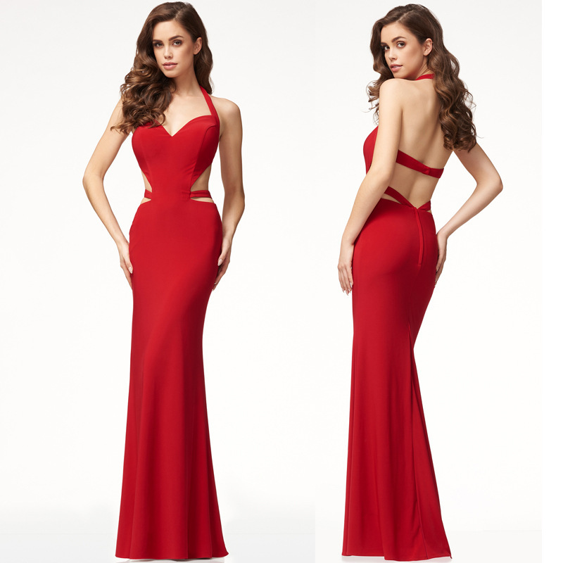 Dress 2019 European And American-Style New Style Evening Gown Hot Selling Sleeveless Halter Dress