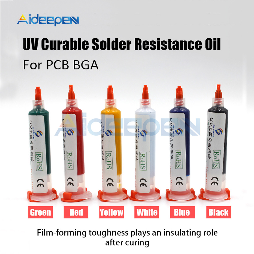 10cc UV Gurable Solder Resistance Oil For PCB Curable Solder Resist Ink BGA Mask Circuit Board Insulation Protection Tool