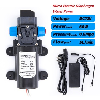 12V 60W DC Micro Electric Diaphragm Water Pump Automatic Switch 5L/min High Pressure Car Washing Spray Water Pump 5L/min 0.8Mpa 1pc electric mini vacuum air pump high pressure suction diaphragm pumps 5l min 80kpa dc 12v with holder for chemical industry