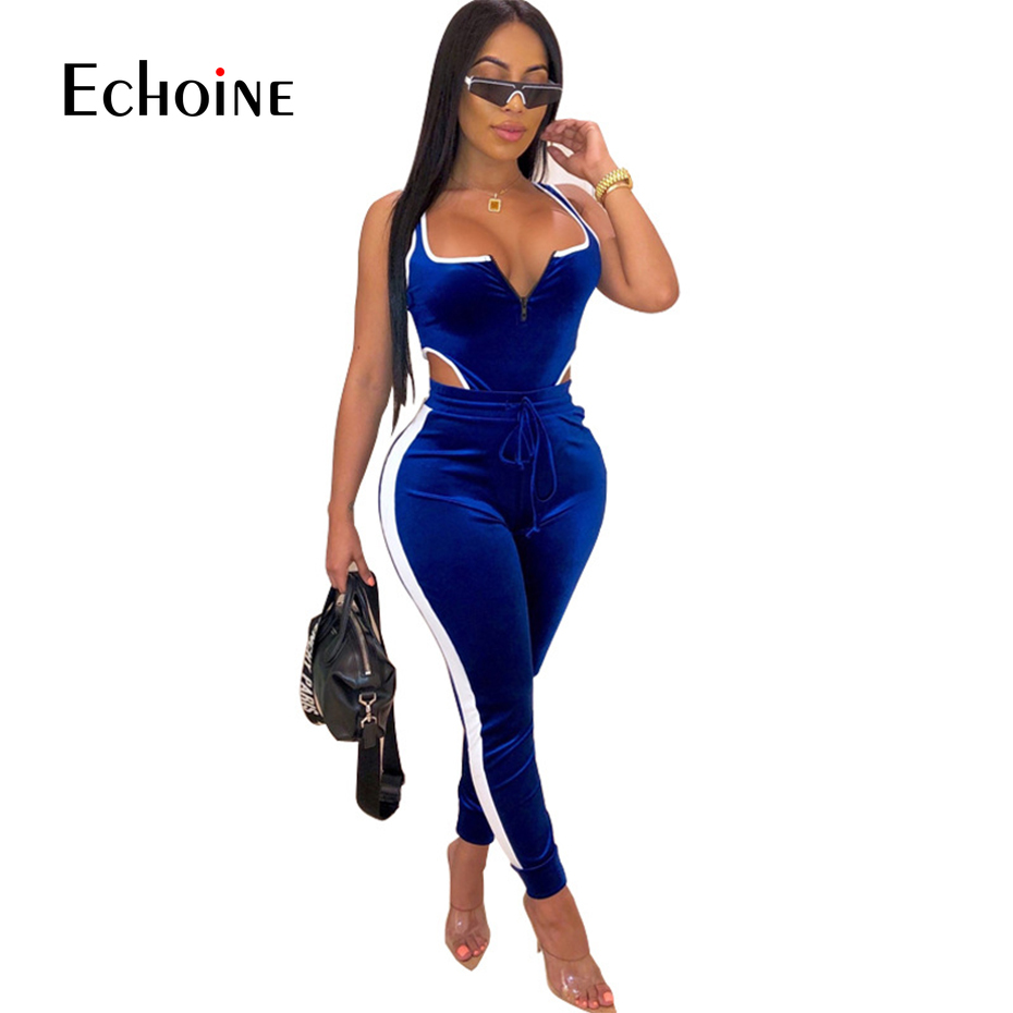 Sexy Backless Two Piece Set Tracksuit Women Velvet Bodysuit Top and Pant Fall Winter Clothing 2 Piece Club Outfits Matching Sets