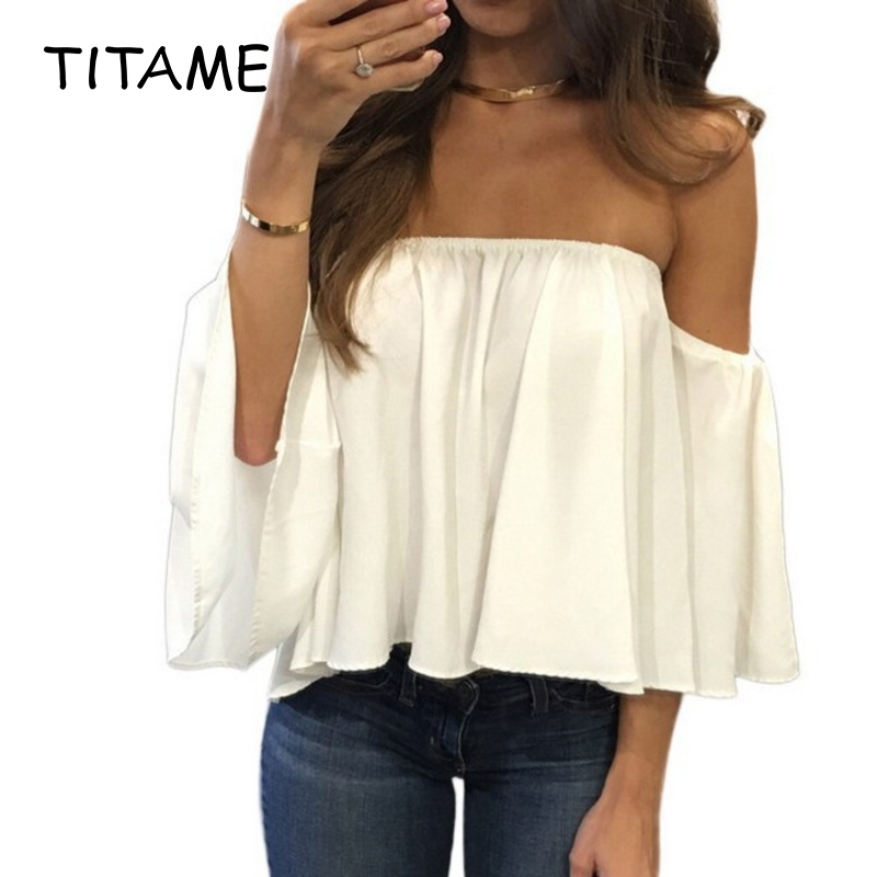 TITAME Women Off Shoulder Top   Blouse     Shirt   Women Solid Color Sexy Tube Tops   Shirt   2020 Summer Women   Blouse   Chiffon   Blouse     Shirt