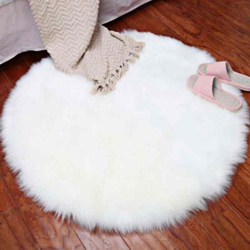 New Soft Faux Fur Wool Living Room Sofa Carpet Plush Carpets Bedroom Cover Mattress Xmas Door Window Round Rugs Carpets