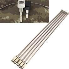 5/10 pçs/lote barato fio corda chave chaveiro fio de aço inoxidável mosquetão cabo anel chave pingente loop caminhadas ao ar livre