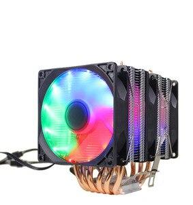 Image 3 - Ryzen радиатор 6 Тепловая Труба Двойная башня охлаждения 9 см вентилятор Поддержка 3 вентилятора 4pin PWM CPU кулер AM3 AM4 FM2 775 115X 1366 cpu Радиатор