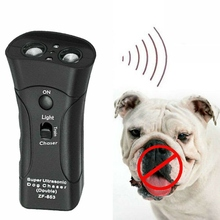 Pet Anti Dog Barking Trainer LED Light Ultrasonic Gentle Chase Training Dogs Double Head Trumpet