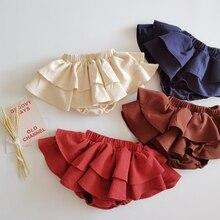 COOTELILI Ruffle Summer Kids Cake Skirt Shorts For Baby Girls Skirt Shorts Toddler Solid Kids Beach Short Children Pants
