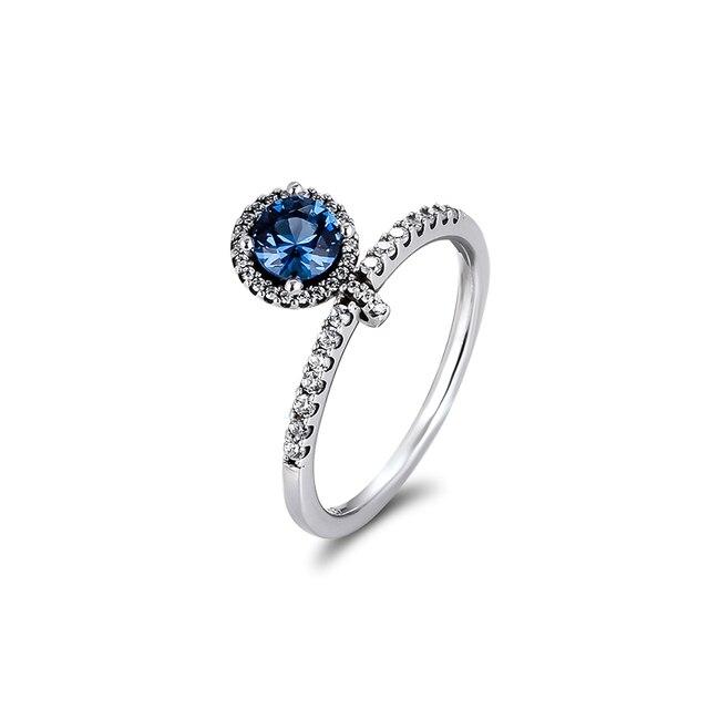 Autentico anello in argento Sterling 925 con pendenti rotondi scintillanti per le donne gioielli fai da te che fanno anelli regalo per la festa nuziale di fidanzamento