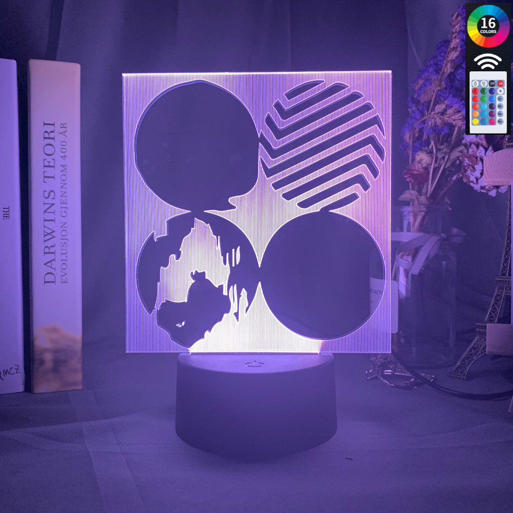 3d Led Night Light Bangtan Logo Wings Color Changing Touch Sensor Gift Office Bedroom Decoration Usb Battery Table Lights