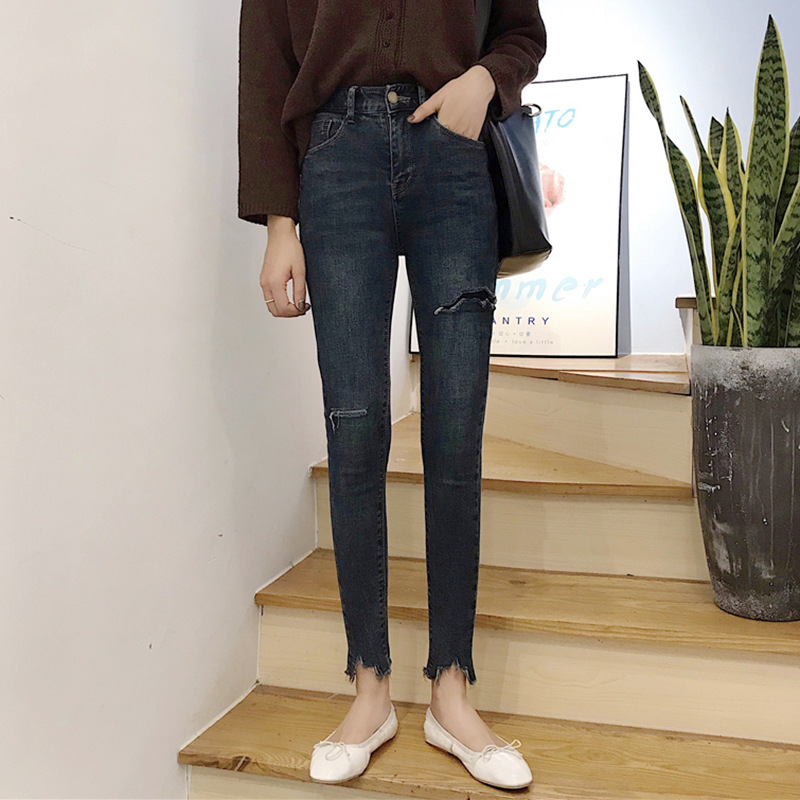 High-waisted Slimming Irregular Edges Tight-Fit Jeans Women's Fall And Winter Clothes New Style Students Retro Casual Capri Pant