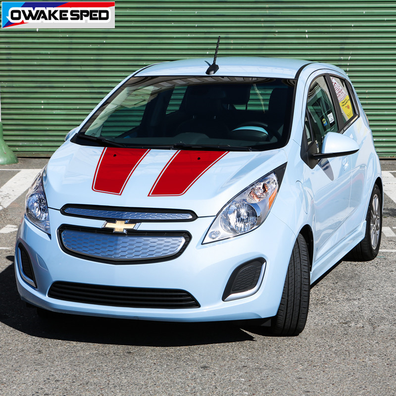 Car Hood Roof Decor Sticker Bonnet Sport Stripes Auto Engine Cover Trim Decal Racing Styling For Chevrolet Spark 2011-18