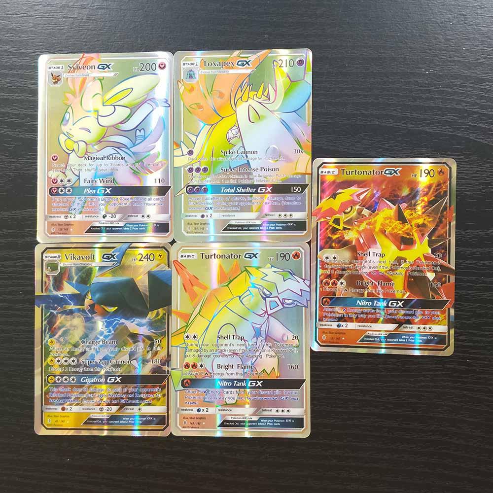 TAKARA TOMY Pokemon Card Collections Battle Shining Card Board Game 120pcs Flash Cards 115 GX 5 MEGA Children Toys Gifts