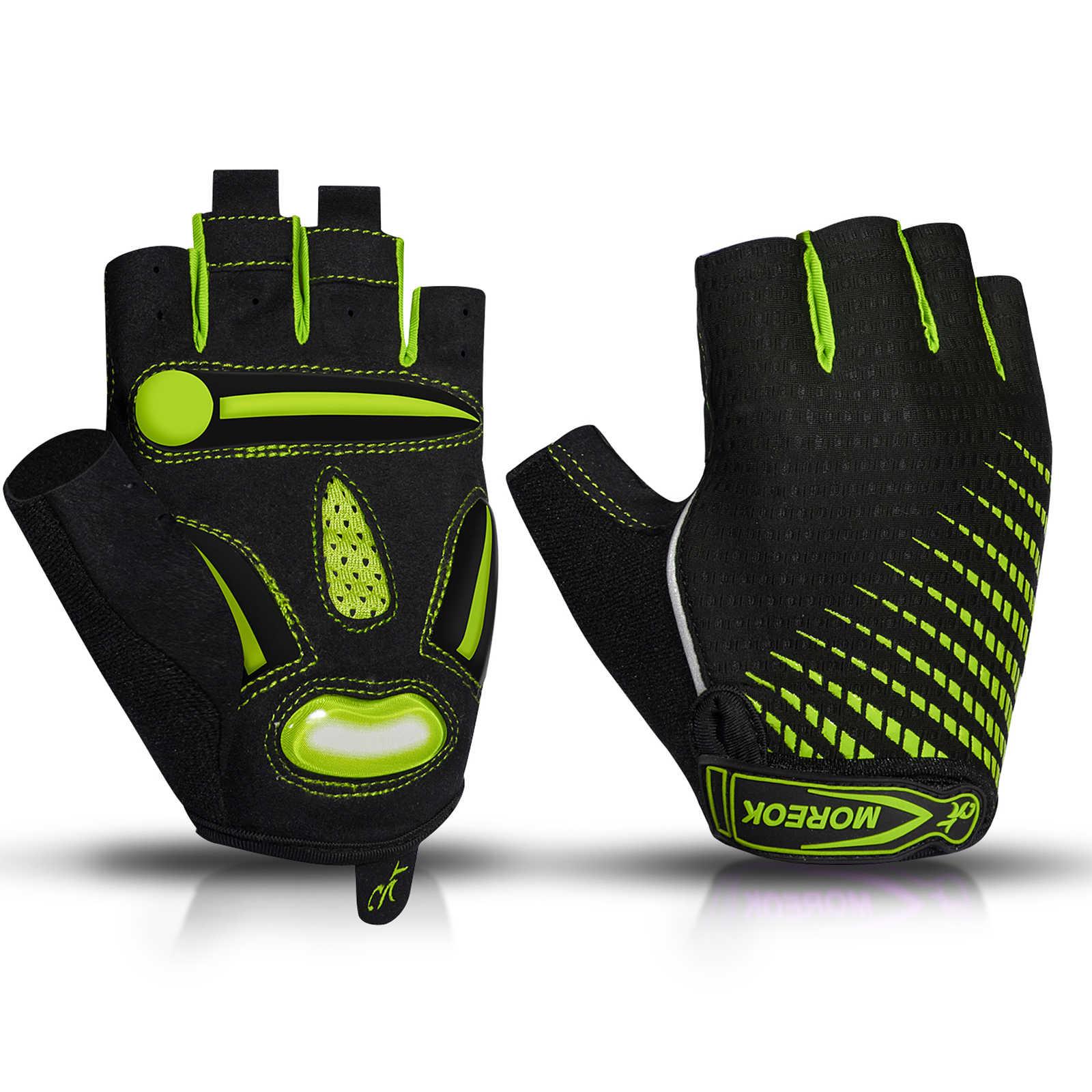 MOREOK Mens Cycling Gloves,Half Finger Biking Glove MTB DH Road Bicycle Gloves Gel Pad Shock-Absorbing Anti-Slip Breathable Motorcycle Mountain Bike Gloves Unisex Women