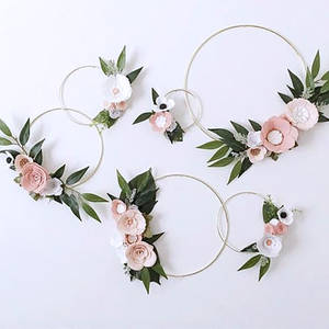 10-40cm Iron Metal Wreath Wedding Decoration Gold Color Garland Artificial Flower DIY Floral Hoop Baby Shower Party Decoration