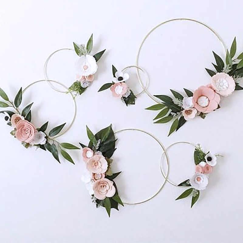 5pcs Round Metal Wire Floral Wreath Frame DIY Floral Succulent Holder Xmas Decor