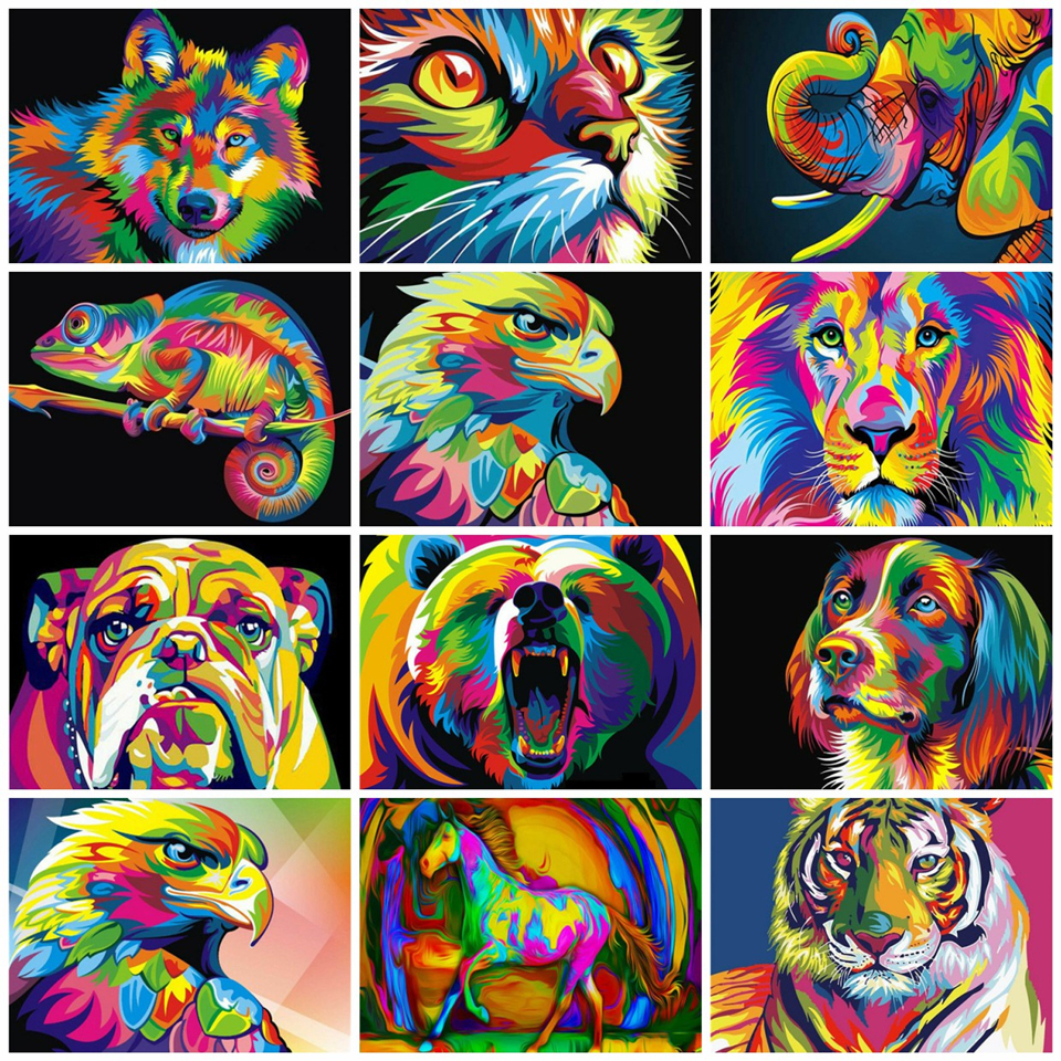 AZQSD Painting By Numbers Cat Pictures By Number Animal Arcylic Oil Painting Paint By Numbers For Adults Oil Painting Home Decor