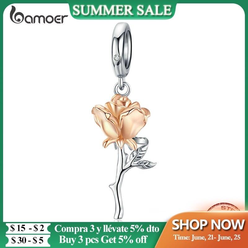 bamoer 3D Rose Flower Pendant Charm 925 Sterling Silver Rose Gold Color Charms for Bracelet or Necklace DIY Bijoux BSC145