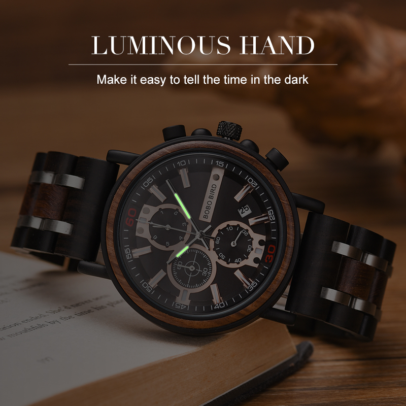 Image 2 - BOBO BIRD Watch Men montre  Wood Watch Men Chronograph Military Watches Luxury Stylish Dropshipping with Wooden Box reloj hombreQuartz Watches   -
