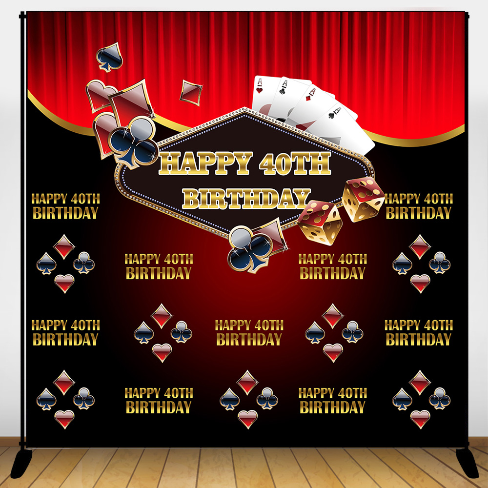 Mehofoto <font><b>40th</b></font> <font><b>Birthday</b></font> <font><b>Backdrop</b></font> Poker Step and Repeat Background 50 60 Years Old Casino Party Banner Decoration Adult Customized image