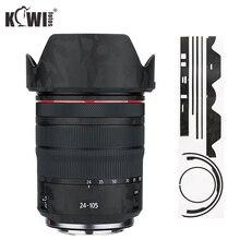 Kaymaz Lens ve Lens Hood kapak Canon için Canon RF 24 105mm F4L IS USM Lens ve EW 83N Lens Hood cilt 3M Sticker gölge siyah